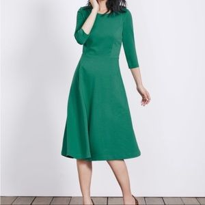 Boden Irene Ponte Fit Flare Green Dress 10L Long